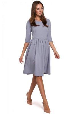 K010 Sukienka rozkloszowana - gołębia