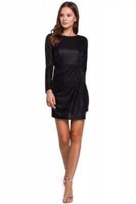 K015 Sukienka z podwójnym dołem - czarna