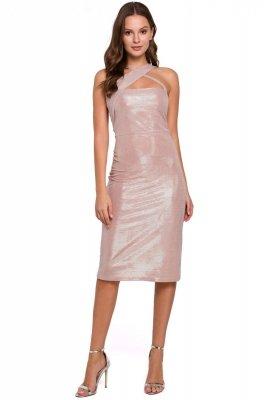 K016 Sukienka z dekoltem na krzyż - pudrowa