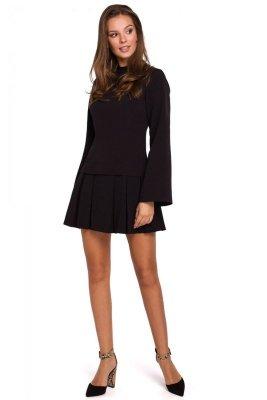 K021 Sukienka z kontrafałdami na dole - czarna