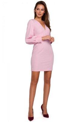 K027 Sukienka z bufiastymi rękawami - liliowa