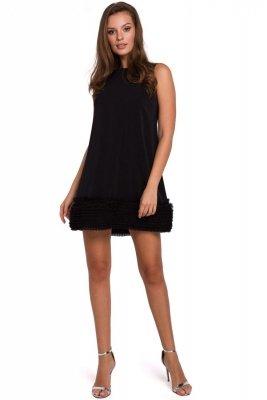 K038 Sukienka z pasem marszczonego tiulu - czarna