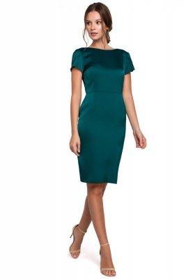 K041 Sukienka z dekoltem typu woda z tyłu - zielona