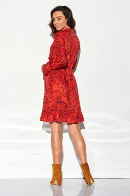 Sukienka z falbanką i wiązaniem przy szyi wzór LG509 druk 1