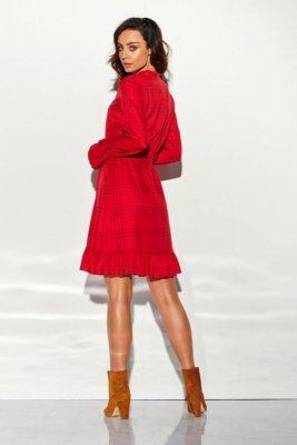 Sukienka z falbanką i wiązaniem przy szyi wzór LG509 druk 5