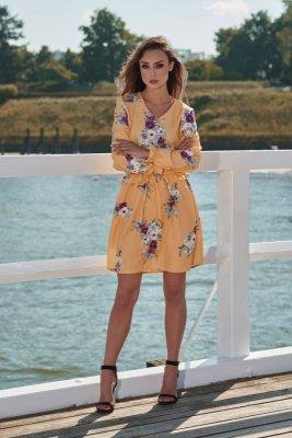 1 Sukienka L275 żółty w kwiatki PROMO
