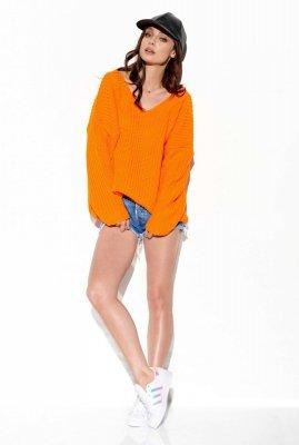 Sweter z dużym dekoltem V LS292 pomarańczowy