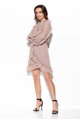 Szyfonowa sukienka z jedwabiem i falbankami kolor L326 capucino