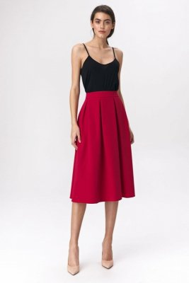 Rozkloszowana czerwona spódnica midi  - SP50