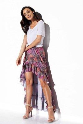 Asymetryczna spódnica z falbaną z jedwabiem LG544 druk 20