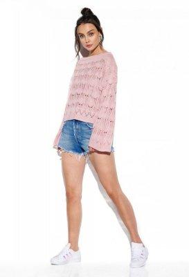 Ażurowy sweter z rozszerzanym rękawem LS291 pudrowy róż