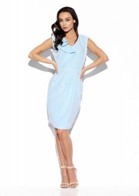 Elegancka sukienka z falbaną L337 błękitny
