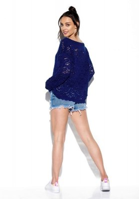 Lekki ażurowy sweter LS296 chaber