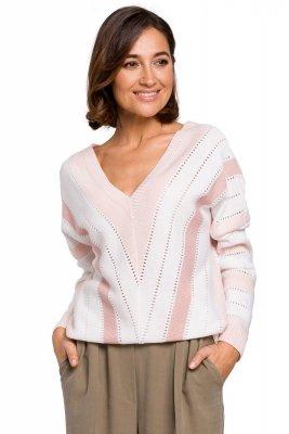 S218 Sweter w serek - różowy
