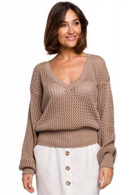 S219 Sweter z dużymi oczkami - beżowy