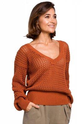 S219 Sweter z dużymi oczkami - pomarańczowy