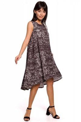 B141 Sukienka z nadrukiem bez rękawów - szara
