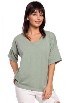B147 T-shirt oversize z dekoltem i haftem - pistacjowy
