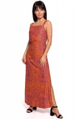 B152 Sukienka maxi na regulowanych ramiączkach - pomarańczowa