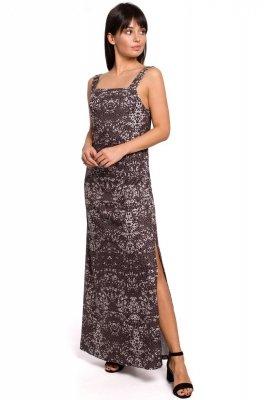 B152 Sukienka maxi na regulowanych ramiączkach - szara