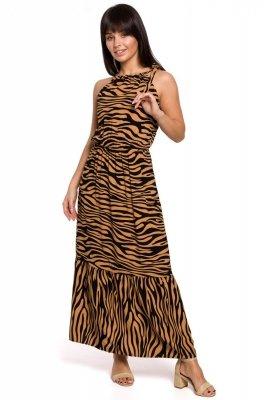 B158 Sukienka maxi z nadrukiem i wiązaniem przy szyi - karmelowa