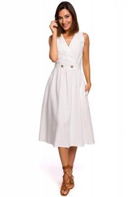 S224 Sukienka bez rękawów z rozkloszowanym dołem - ecru