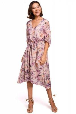 S226 Sukienka szyfonowa midi z asymetrycznym dołem - model 2