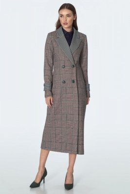 Dwurzędowy płaszcz we wzór - PL11