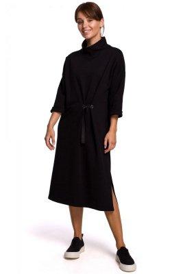 B181 Sukienka midi z ozdobnym wiązaniem - czarna