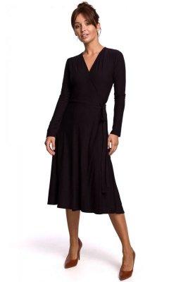 B184 Sukienka kopertowa z wiązaniem - czarna