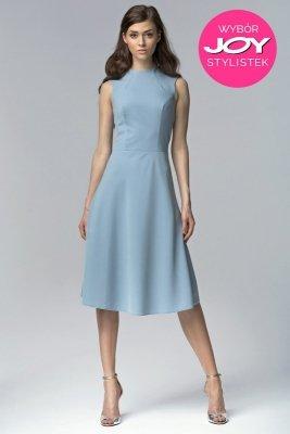 Niebieska elegancka sukienka MIDI - S62