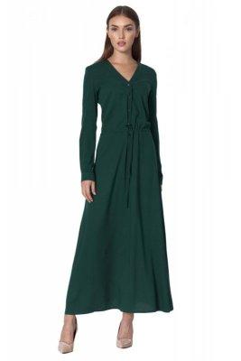 Długa sukienka  w kolorze butelkowej zieleni - S154
