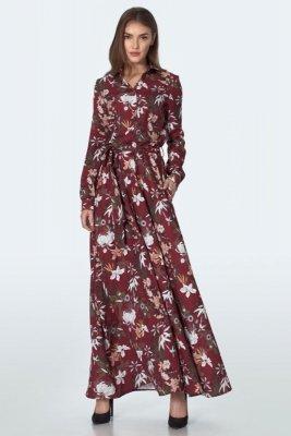 Bordowa sukienka maxi w kwiaty - S158