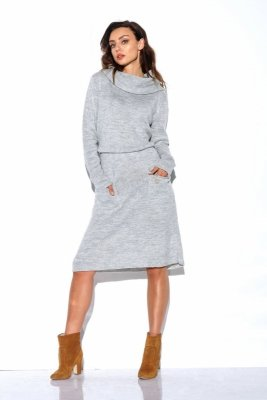 1 Sweterkowa sukienka  LS257 jasnoszary PROMO