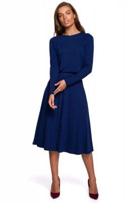 S234 Sukienka z rozkloszowanym dołem - atramentowa