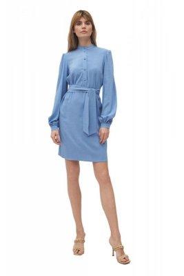 Niebieska sukienka na stójce - S177