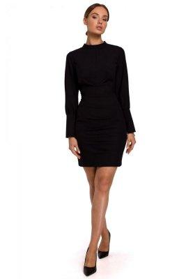 M546 Sukienka mini ze stójką - czarna