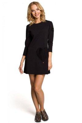 M053 Mini sukienka - tunika z dzianiny - czarna