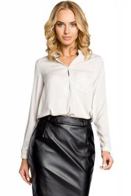 M063 Bluzka koszulowa ze stójka i kieszonką - beżowa