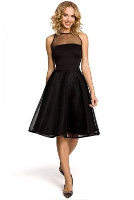 M148 Wieczorowa sukienka z dopasowaną górą - czarna