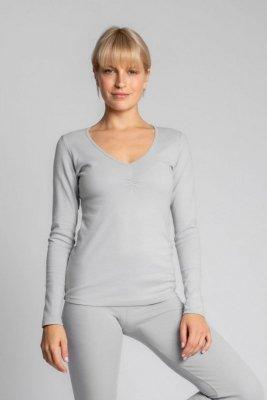 LA034 Bawełniana bluzka z długimi rękawami - popileaty