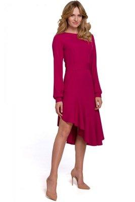 K077 Asymetryczna sukienka z falbanką - śliwkowa