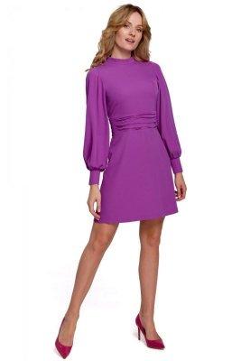 K078 Sukienka z marszczonym paskiem - lawendowa