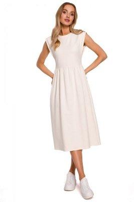 M581 Sukienka midi z ozdobnymi rękawami - śmietankowa