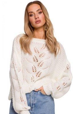 M600 Sweter z ażurowym wzorem - ecru