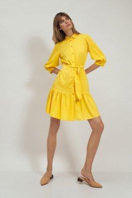 Wiskozowa sukienka z falbaną w kolorze żółtym - S179