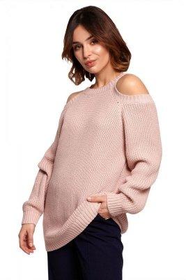 BK069 Sweter z wycięciami na ramionach - różowy