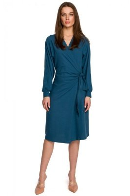 S267 Dzianinowa sukienka wiązana na boku - morska