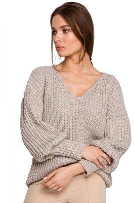 S268 Sweter w serek ze ściągaczem przy rękawach - beżowy
