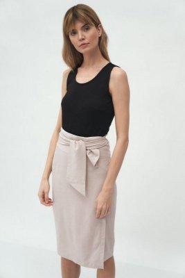 Beżowa spódnica z wiązaniem - SP59